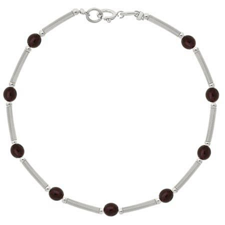 Sterling Silver .925 Genuine Garnet Stone Bar and Bead Bracelet