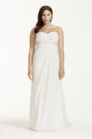 Georgette A-Line Plus Size Wedding Dress with Beaded Waist Style 9OP1238,...