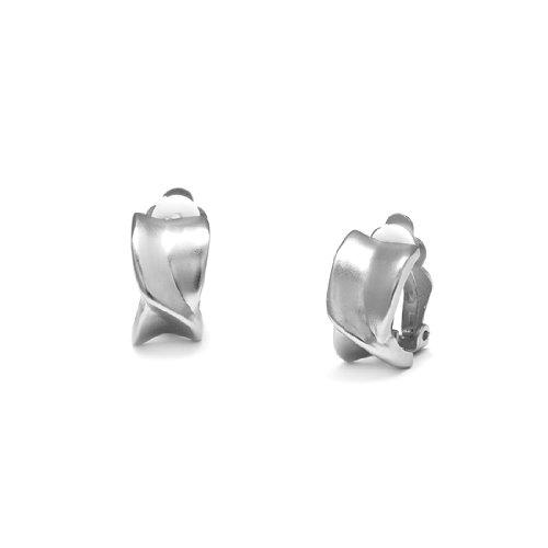 Rodney Holman Brushed Silver Twisted X Clip On Earrings