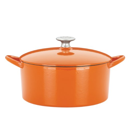 Mario Batali 826797 Enameled Cast Iron Round Dutch Oven, 6-Quart, Persimmon