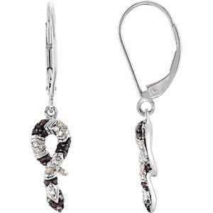 Genuine IceCarats Designer Jewelry Gift Sterling Silver Genuine Black Spinel And Diamond Snake Earrings. 1/6 Ct Tw/Pair Genuine Black Spinel And Diamond Snake Earrings In Sterling Silver