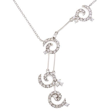 925 Sterling Silver Tassle Bridal Necklace with Clear Cubic Zirconia
