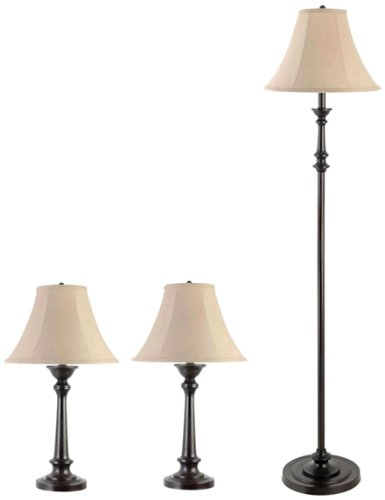 Globe Electric Room Full Floor and Table Lamp Set, Chocolate Brown Finish, 3 Pack