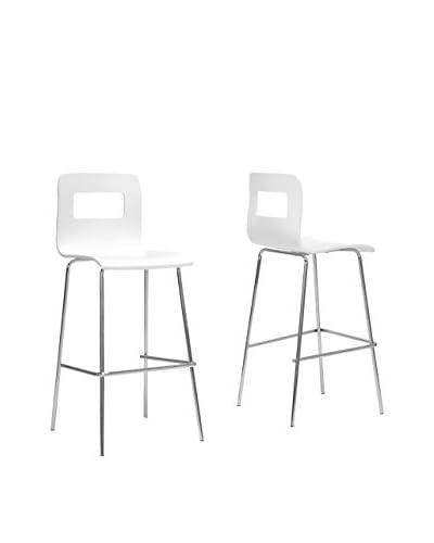 Baxton Studio Set of 2 Greta Modern Bar Stools, White