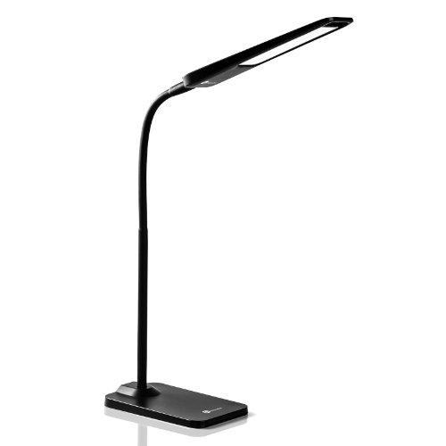 TaoTronics® Elune TT-DL03 LED Gooseneck Desk Lamp / Detachable Emergency Light Source Lasts 8 Hours / 3 Level Dimmable Touch Control Button 6W Equivalent 50W (Black))