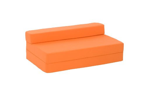 Lyon Double Chair Bed in Orange Cotton Drill