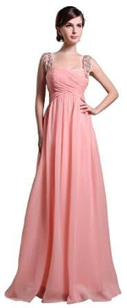 herafa p31141-2 Robes de soirée élégant Strap Sans manche Ruché Perles Délicates Maxi Sweep A-Ligne Rose