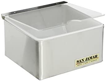 "San Jamar B4061INL Stainless Steel Condiment Center with Individual Notched Lid, 6"" Width x 3-1/2"" Height x 5-3/4"" Depth"