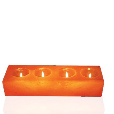 WBM Himalayan Ionic Natural Salt Candle Holder, Cube Shape - 4 Hole