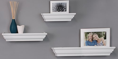 nexxt Madison Contoured Wall Ledges, 12 Inch, 16 Inch, 24 Inch, White, Set of 3