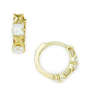 14ct Yellow Gold Round CZ Small Hinged Earrings - Measures 12x13mm