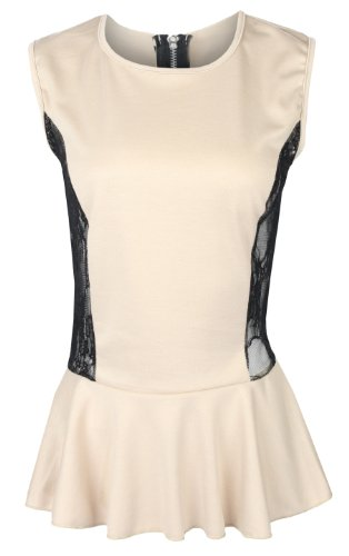 Funky Diva-Ladies Sleeveless Lace Side Peplum