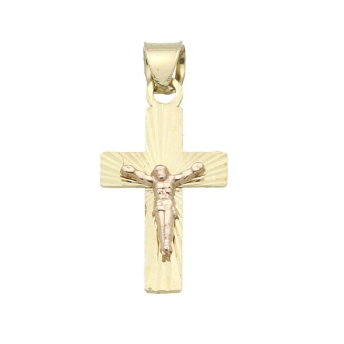 14K Gold Pendant Jesus Crucifix Two Tone Gold Charm, 0.4