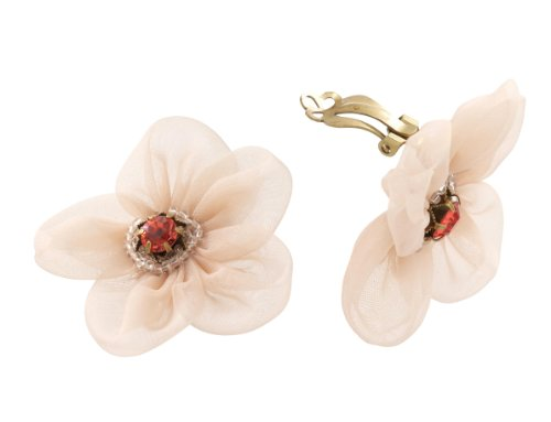 Michal Negrin Clip-on Earrings Beautifully made of 5 Petal Fabric Flower and Decorated with Red Swarovski Crystals