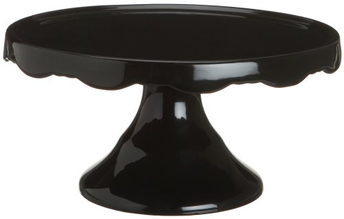 Rosanna Rococo Noir Black Medium 10-1/2-Inch Cake Pedestal, Gift-boxed