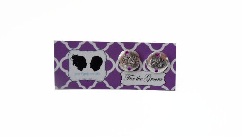 Grooms I DO Cufflinks with Colored Crystal-Silver Charm- Purple Stone