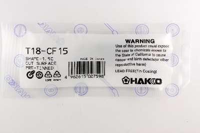 Hakko T18-CF15 - T18 Series Soldering Tip for Hakko FX-888/FX-8801 - Bevel - 1.5 mm/60? x 13.5 mm