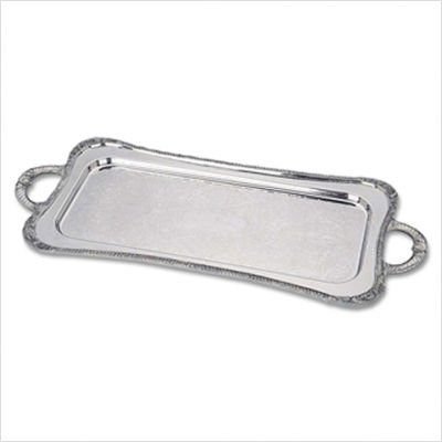"Silver Plated Giftware Shell and Gadroon 25"" Cocktail Tray"
