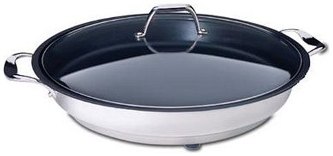 Electric Skillet By Cucina Pro - 18/10 Stainless Steel, Non Stick Interior, with Glass Lid, 16