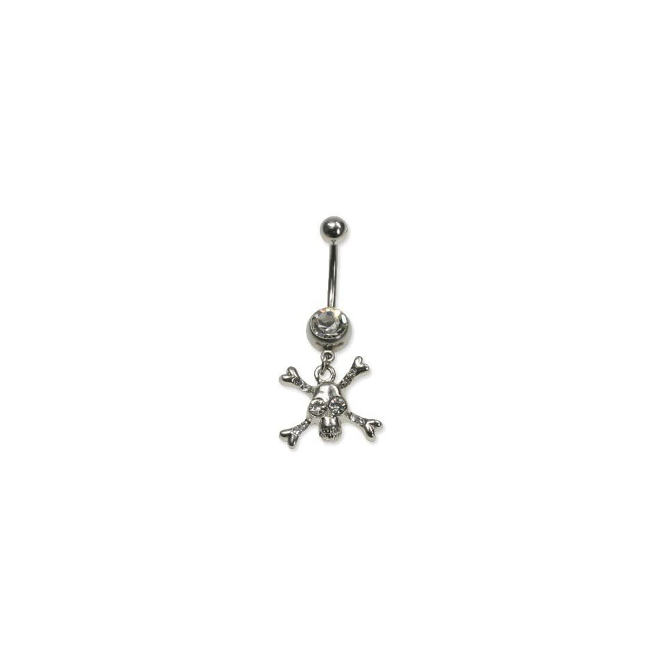 Steel Belly Ring with Clear Australian Crystals   Dangling skull