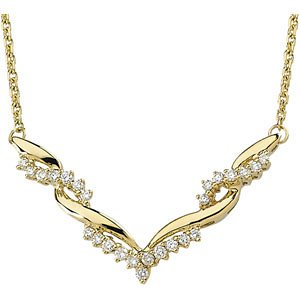 Genuine IceCarats Designer Jewelry Gift 14K Yellow Gold Diamond Asmb Necklace