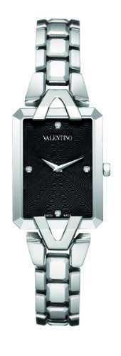 Valentino Women's V36SBQ9909 Gemme Rectangular Black Dial Diamond Watch