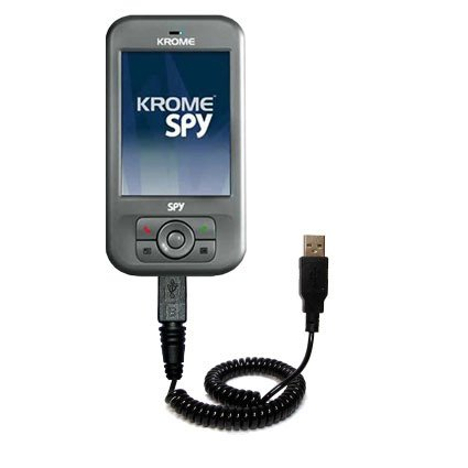 Coiled USB Cable for the Krome Spy with Power Hot Sync and Charge capabilities - uses Gomadic TipExchange Technology