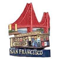 San Francisco Magnet 3D Cable Car Golden Gate Bridge Poly