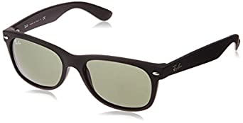 Ray-Ban RB2132 New Wayfarer  Sunglasses, Black Rubber Frame/Green Lens, 55 mm
