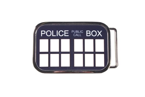Dr. Who Tardis Police Box Metal Belt Buckle (Blue)