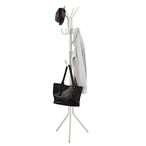 LANGRIA Porte-Manteau sur Pied 3 Niveaux et 11 crochets pour Entrée, Couloir, Foyer, Bureau (Blanc)