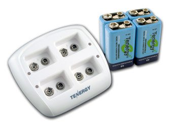 Tenergy Tn136 Smart 4 Bay 9V Charger With 4 Pieces Tenergy 9V Nimh 250Mah Rechargeable Batteries