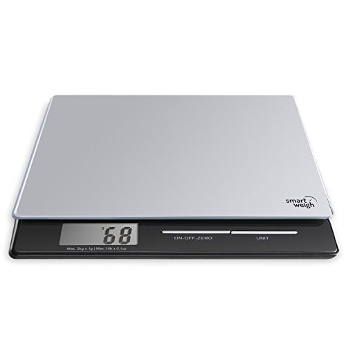 Smart Weigh Balance Professionnelle de cuisine et postale numérique avec Plate-forme en verre trempé, Modes de pesée multiples et Fonction Tare, Argent