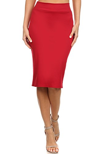 Women's Below the Knee Pencil Skirt for Office Wear - Made in USA, Medium, Red (Red Pencil Skirt compare prices)