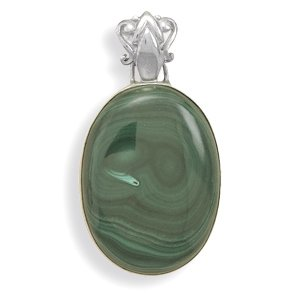Sterling Silver Large Oval Malachite Pendant With Fancy Bale Malachite Measures 38mmx28mm Charm