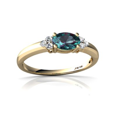 Created Alexandrite 14ct Yellow Gold Ring