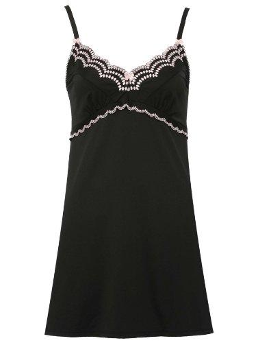 Ladies Spot Embroidery Slip Black 12