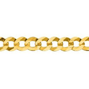 10K Solid Yellow Gold Comfort Curb Chain Necklace 5.7mm thick 20 Inches