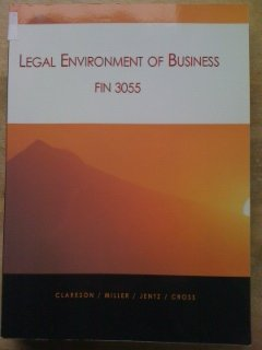 Legal Environment of Business FIN 3055 Custom Virginia Tech Text