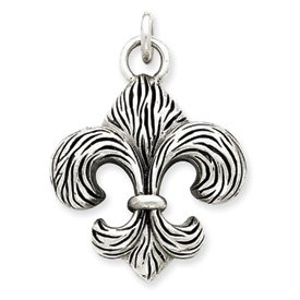 Sterling Silver Antiqued Fleur de lis Pendant - JewelryWeb