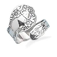 Sterling Silver Floral Spoon Ring - Adjustable Size