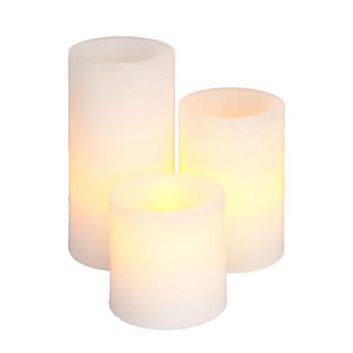 Everlasting Glow LED Wax Straight Edge Pillar Candle, White, Set of 3, 2