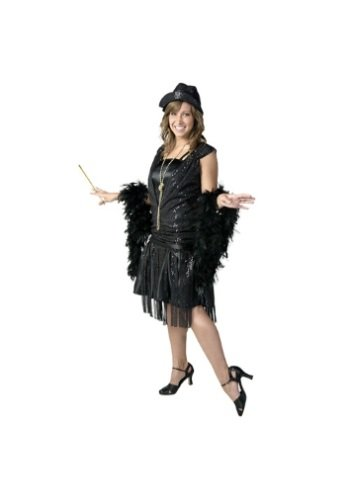 Plus Size Black Jazz Flapper Costume 1X
