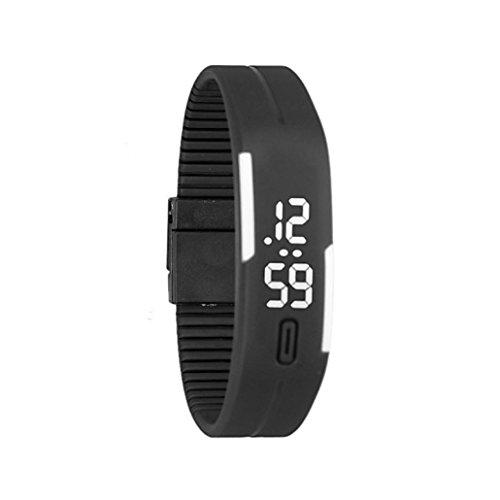 familizo Unisex de goma reloj LED Fecha Deportes pulsera digital reloj de muñeca blanco y negro