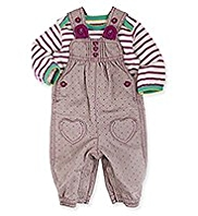 2 Piece Pure Cotton Spotted Dungaree Outfit
