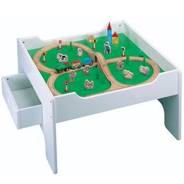Activity Table with 50-piece Wooden Train Set