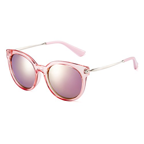 CAXMAN Women's Cat Eye Fashion Retro Color Mirrored Flash Polarized Sunglasses, Pink (Real Horn Rimmed Glasses compare prices)