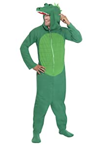 Smiffy's Men's Crocodile Costume All In One with Hood, Green, Medium
