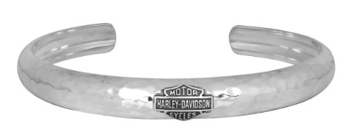 Harley-Davidson Womens .925 Silver Hammered Tapered Cuff Bracelet Bracelet (7 Inches)