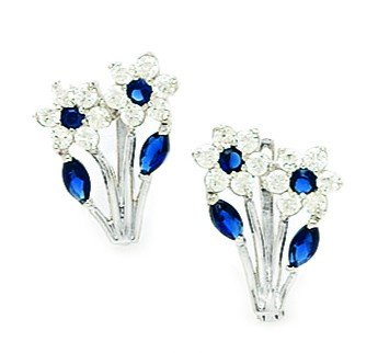 14ct White Gold Sptember Birthstone Blue CZ 2-flowers Leaf Leverback Earrings - Measures 16x10mm